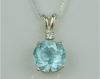 Sky Blue Topaz Sterling Silver Necklace 9mm 3.40ct