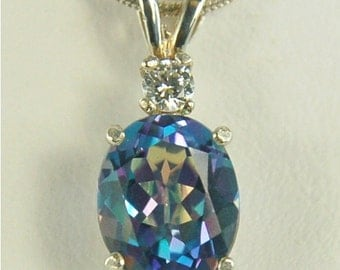Mystic Blue Topaz Necklace Sterling Silver 10x8mm 3.35ct Oval With White Zircon Accent