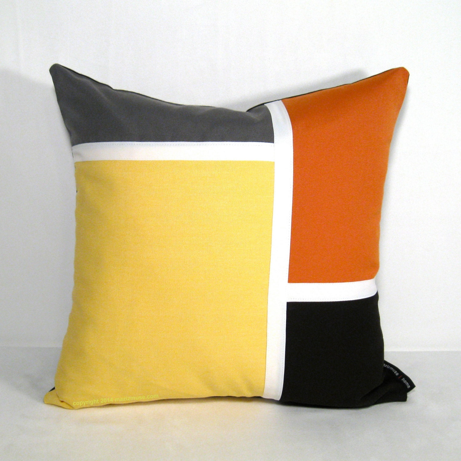 Yellow Grey Outdoor Pillow Cover Mid Century Modern Pillow