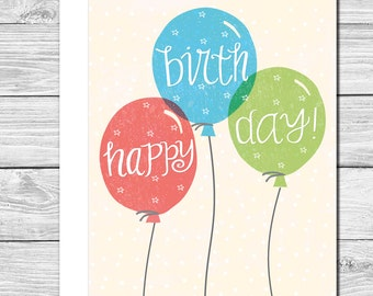 Celebrate your birthday with balloons! Hand drawn birthday card