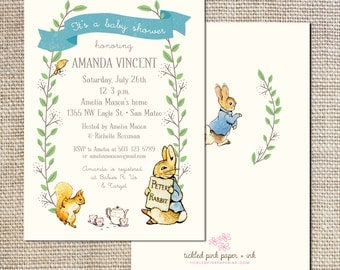 Peter Rabbit Baby Shower or first birthday Invitation
