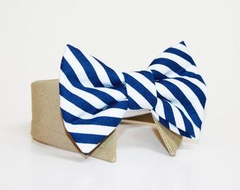 Dog Bow Tie- Shirt and Bow Tie Collar-  Wedding Dog Tie- Navy Stripes