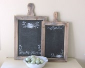 Rustic Reclaimed Wood Farmhouse Chalkboard Set Cottage Chic French Country Hand Painted Bird Motiff