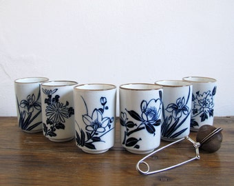 6 Vintage Handleless Mugs Cups Blue Floral Design
