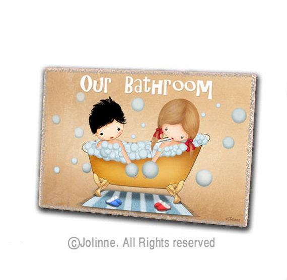Bathroom door sign kids art boy girl sign personalized by jolinne for Boy and girl bathroom door signs