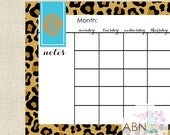 2016 Calendar - Desk Pad Monthly Calendar Sheets - LEOPARD Collection - fill in your own dates - 53 Sheets