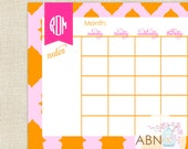 2016 Desk Calendar - Monogram Pink and Orange Ikat Pattern - 11x17 Desk Calendar - fill in your own dates - 53 Sheets