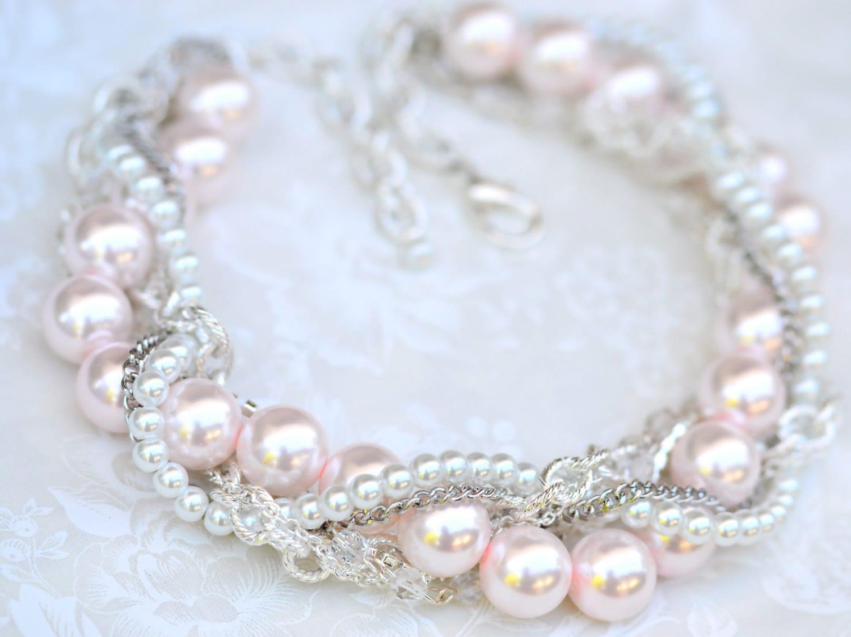 Blush Pink Bridal Statement Necklace Chunky Pearl Rhinestone