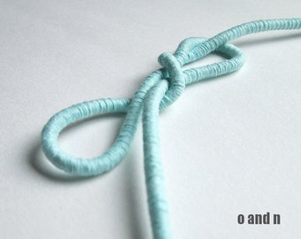 Wrapped cotton cord, cotton rope, acqua, 1 meter