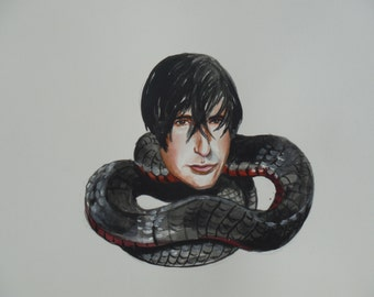 Trent Reznor as a black snake original painting
