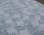 Modern Lap or Baby Quilt, Soft Blue and White