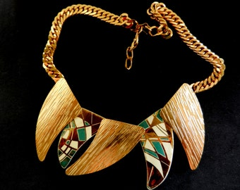 Magnificent necklace 1970 - signed LAURANA - Egyptian revival  - decorations of high-fire enamel - high quality -Art.862/2 -
