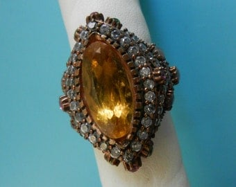 1960s Opulent ring - in 925 silver, bright crystals and stones -incredible beauty and splendor -- Art.509/3-