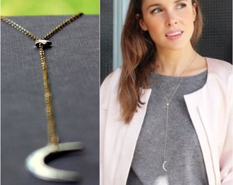 Crescent Moon and Star Lariat Necklace - Mixed Metal Necklace - 14K Goldfilled and Silver