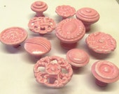 FREE SHIPPING Drawer Pulls Knobs Pink White Collection Distressed Shabby Set of 11 Handpainted Reclaimed Upcycled