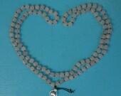 Handmade Rose Quartz Mala Bead Necklace with Sterling Silver Lotus Charm, Artisan Mala Necklace with Rose Quartz