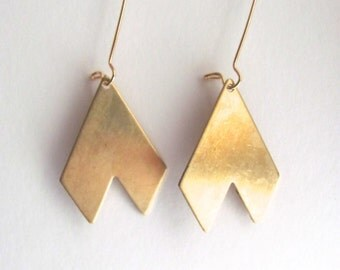 Long gold geometric chevron drop earrings, 14k gold plate fixtures, geometric jewelry, dangle earrings