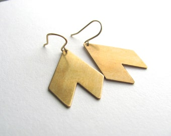 Gold geometric chevron drop earrings, 14k gold plate fixtures, geometric jewelry, dangle earrings