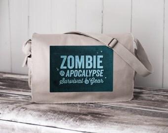 Zombie Apocalypse Survival Gear  - Messenger Bag - School Bag - Stone - Canvas Bag