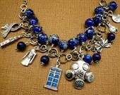 Dr Who Tardis Travel Space Dialeks Beaded Bowtie Charm Bracelet