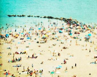"Turquoise Beach Photography // Fine Art Photography // Beach People Aerial Print //  Beach Photography -""Coney Island Beach II"""