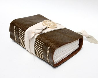 Olive Leather Journal or Notebook - Handmade