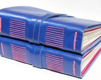 "Blue Leather Art Journal - 4 1/2"" x 6"" 140 lb Watercolor Paper - Handmade Scrapbook Sketchbook"