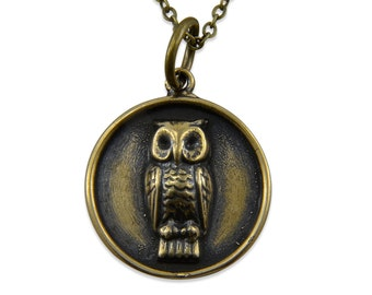 Owl Necklace Medallion Pendant Owl Jewellery Bronze or Sterling Silver White Bronze Gwen Delicious Jewelry