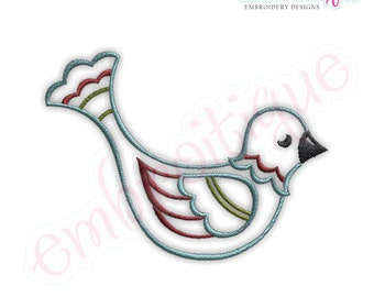 Christmas Bird Embroidery Design - Small- Instant Email Delivery Download Machine embroidery design