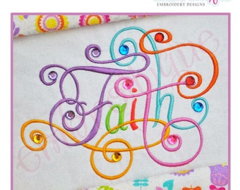 Faith Calligraphy Script Embroidery Design - Large- Instant Download -Digital Machine Embroidery Design