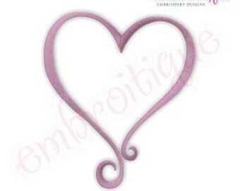Curly Heart Embroidery Design- Instant Download Machine Embroidery Design