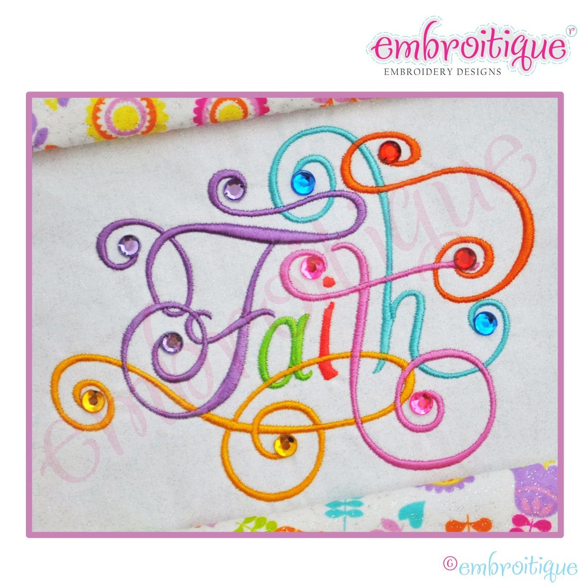 Faith Calligraphy Script Embroidery Design Large Instant