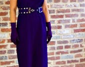 Vintage 1970s Purple Maxi Dress with Studded Belt