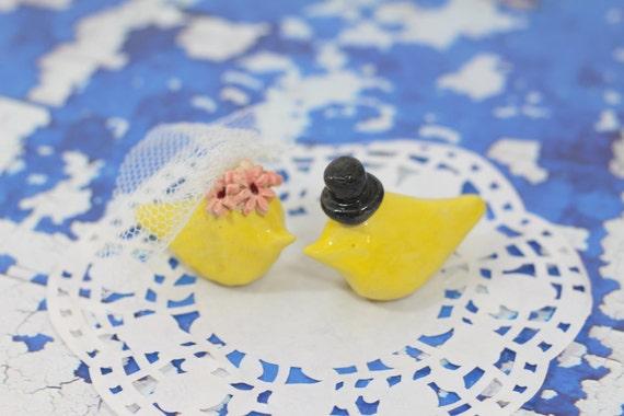Wedding cake topper Love Birds cake topper, Personalized Cake Topper, Clay Figurine, Cute birds