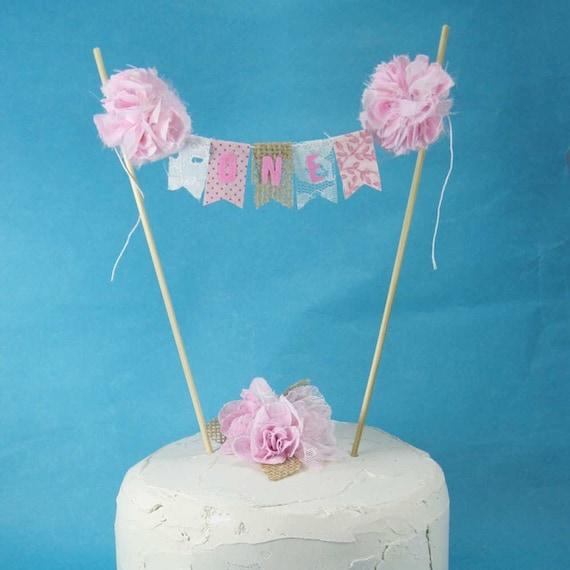 Rustic Cake Topper Burlap Cake Topper Shabby Chic Cake: Shabby Chic Cake Banner Pink First Birthday Cake Topper