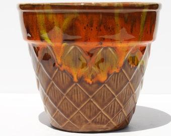 Vintage Mid Century Modern California Original Pottery Drip Glaze Planter