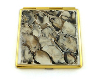 Square Compact Mirror Hand Painted Enamel in Smoky Quartz Inspired 2 Sided Pocket Mirror White Taupe and Black with Personalized Options