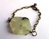 Boho chic gemstone bracelet with antique brass chain, Prehnite, fully adjustable to fit all wrists, unique, ooak
