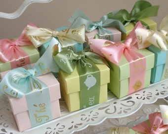Tea Ribbon Favor Box, set of 10