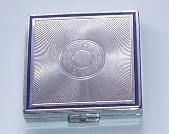 Bourjois Silvertone Blue Enamel Trim Compact  New York, Art Deco Style, Square Compact, Powder Puff, Vanity, Ladies Compact, New York
