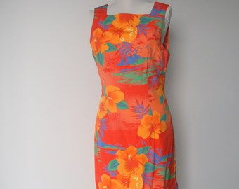 Vintage 1980s Orange Hawaiian Floral Dress
