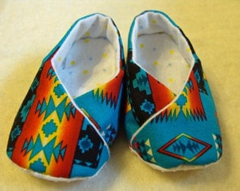 Baby Shoes - Turquoise Native Print