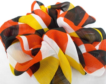 Scrunchies Checkered Scrunchie Orange Yellow Black White Hair Accessories Ponytail Holder Hair Scrunchies Fall Hair Accessories Pony Tails
