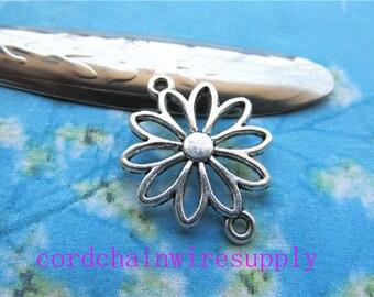 20pcs 25x19mm tibetan silver Lotus flower connectors charms findings