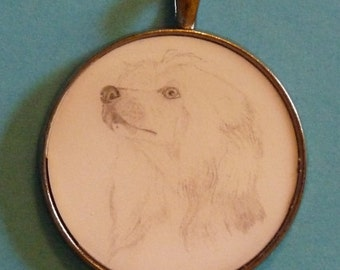 Chinese Crested Powder Puff Original Pencil Drawing Pendant with Organza Pouch -Choice of Necklaces -Free Shipping- Desert Impressions