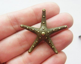 2 Starfish pendants antique bronze tone BC168