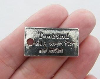 4 Time and tide wait for no man pendants antique silver tone M111
