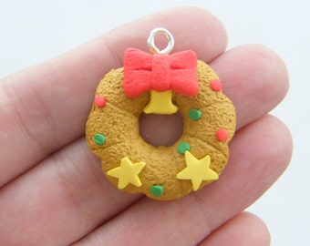 BULK 10 Gingerbread iced wreath cookie pendants clay CT146 - SALE 50% OFF