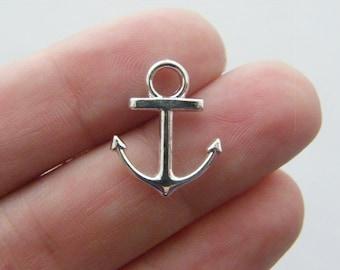 BULK 50 Anchor charms silver plated AN24