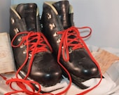 Vintage Cross Country Ski Black Leather Boots by Merrell Made in Italy Size 7
